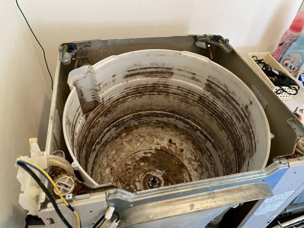 洗濯機の水槽クリーニング前